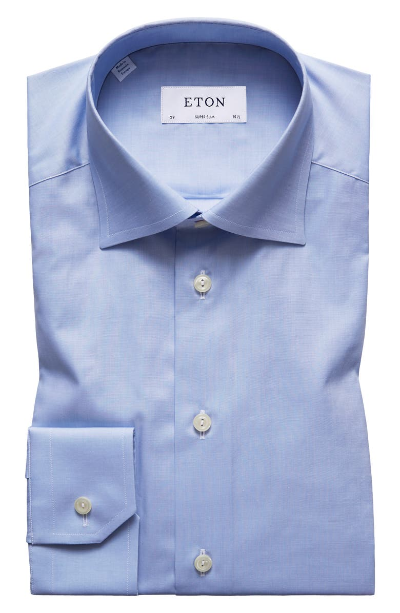 ETON Super Slim Fit Solid Dress Shirt, Main, color, BLUE