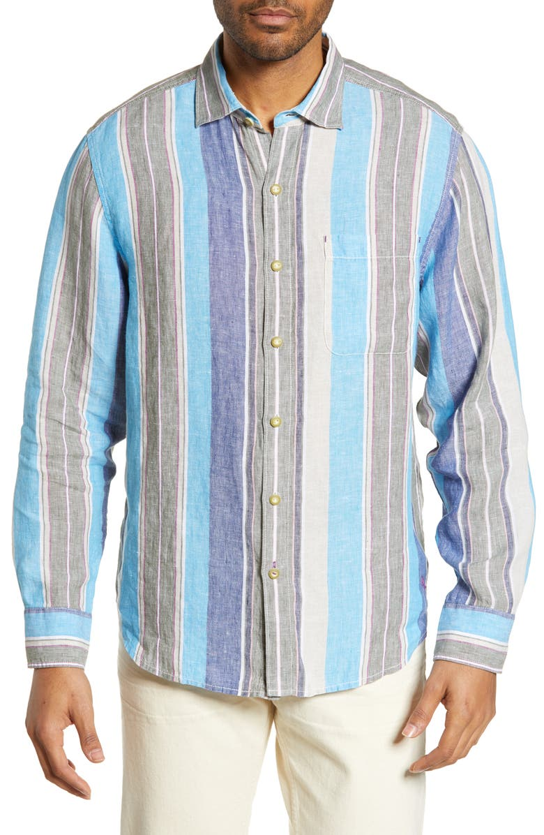 TOMMY BAHAMA Chandler Bay Stripe Linen Shirt, Main, color, TEA LEAF