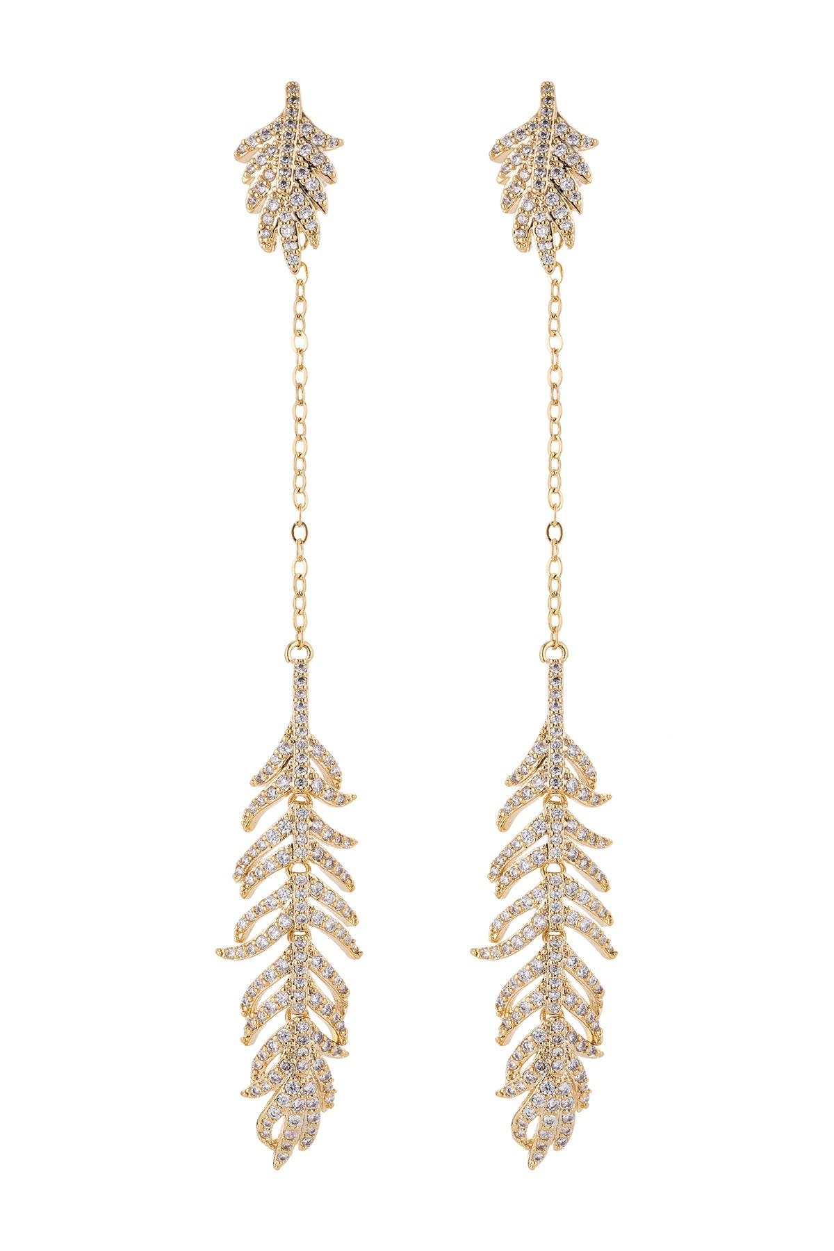 Image of Eye Candy Los Angeles 18K Yellow Gold Plated Feather Drop Earrings