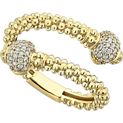 Lagos Caviar Gold Diamond Wrap Ring