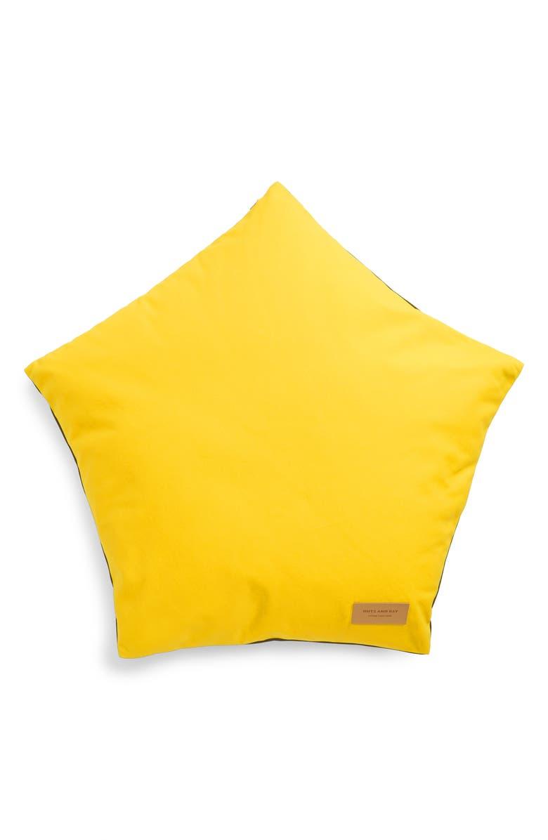 HUTS AND BAY Cat Star Cushion, Main, color, YELLOW/ KHAKI