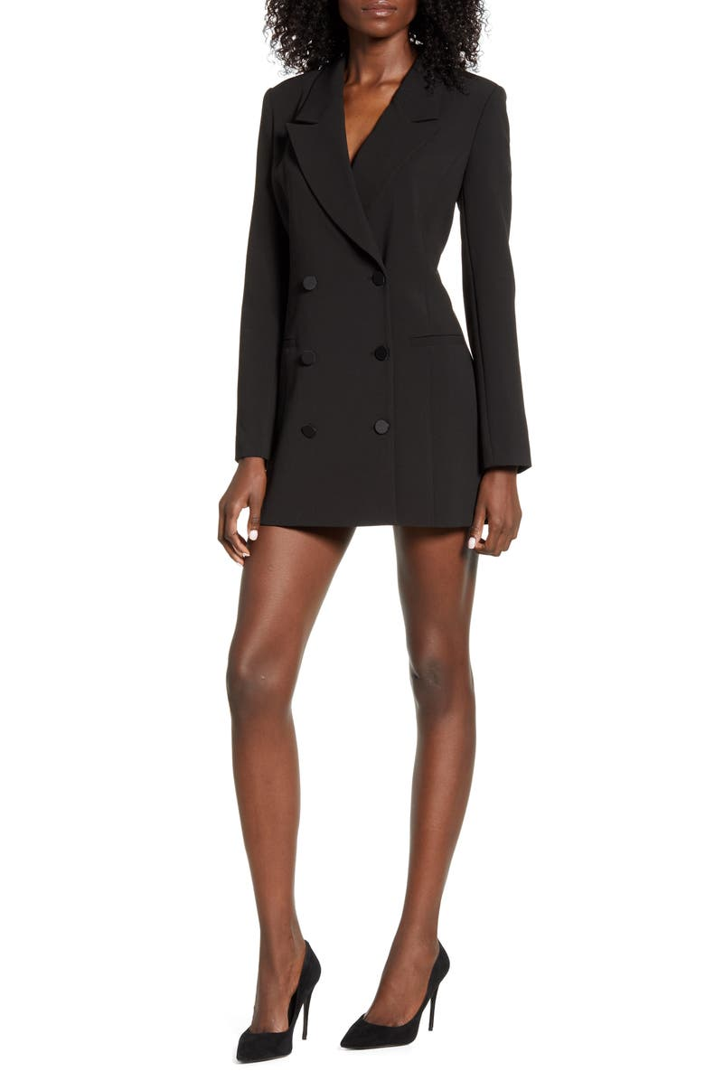 GOOD AMERICAN Blazer Dress, Main, color, BLACK