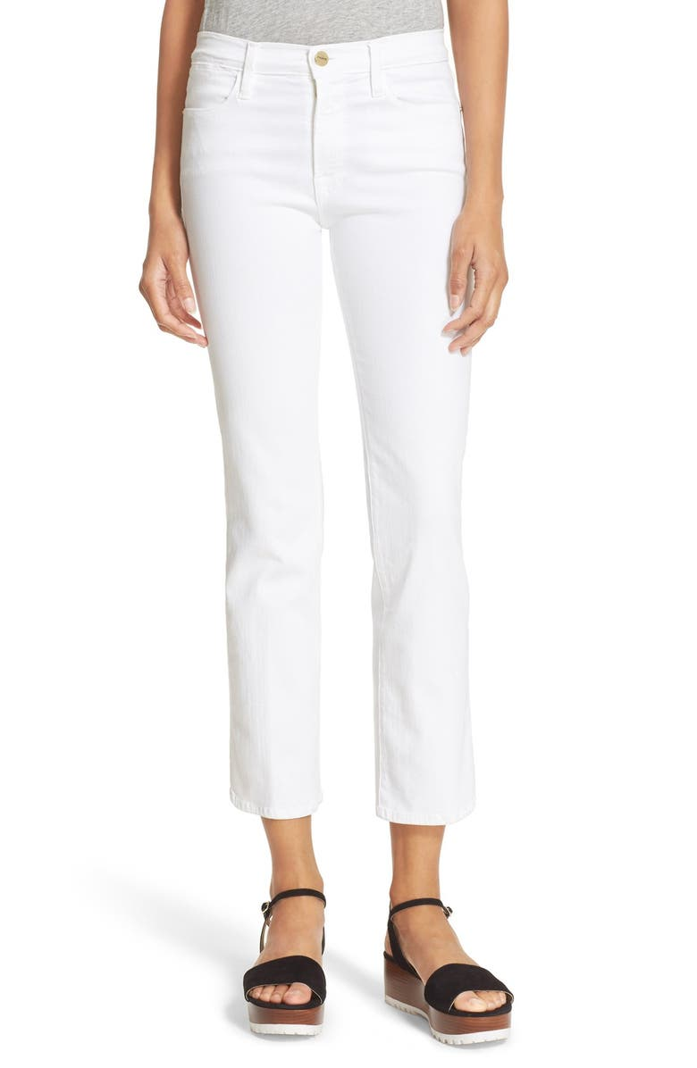 FRAME 'Le High Straight' High Rise Crop Jeans, Main, color, BLANC