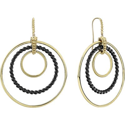 Lagos Gold & Black Caviar Triple Circle Drop Earrings