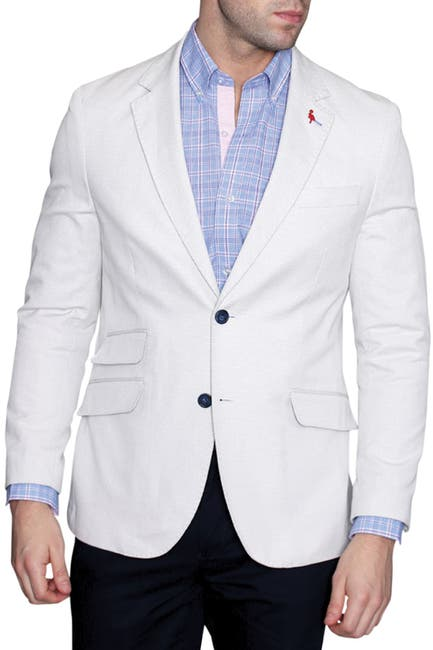 Image of TailorByrd White Pin Dot Two Button Notch Lapel Modern Fit Sport Coat