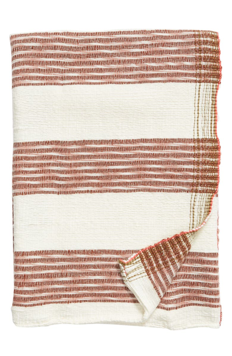 TREASURE & BOND Space Dye Woven Throw Blanket, Main, color, BROWN RUSTIC MULTI