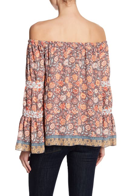 Image of Jessica Simpson Off-the-Shoulder Boho Printed Blouse