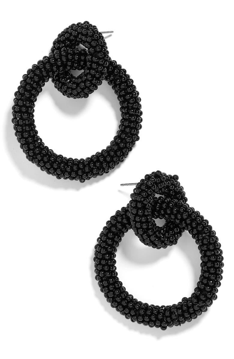 BAUBLEBAR Emma Beaded Hoop Earrings, Main, color, BLACK
