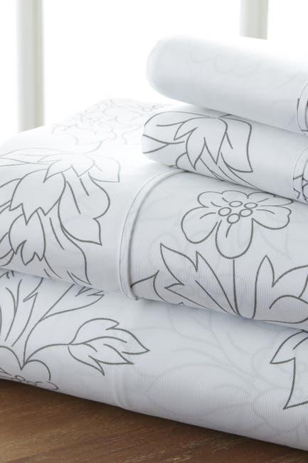 Image of IENJOY HOME The Home Spun Premium Ultra Soft Vine Pattern 4-Piece Queen Bed Sheet Set - Gray