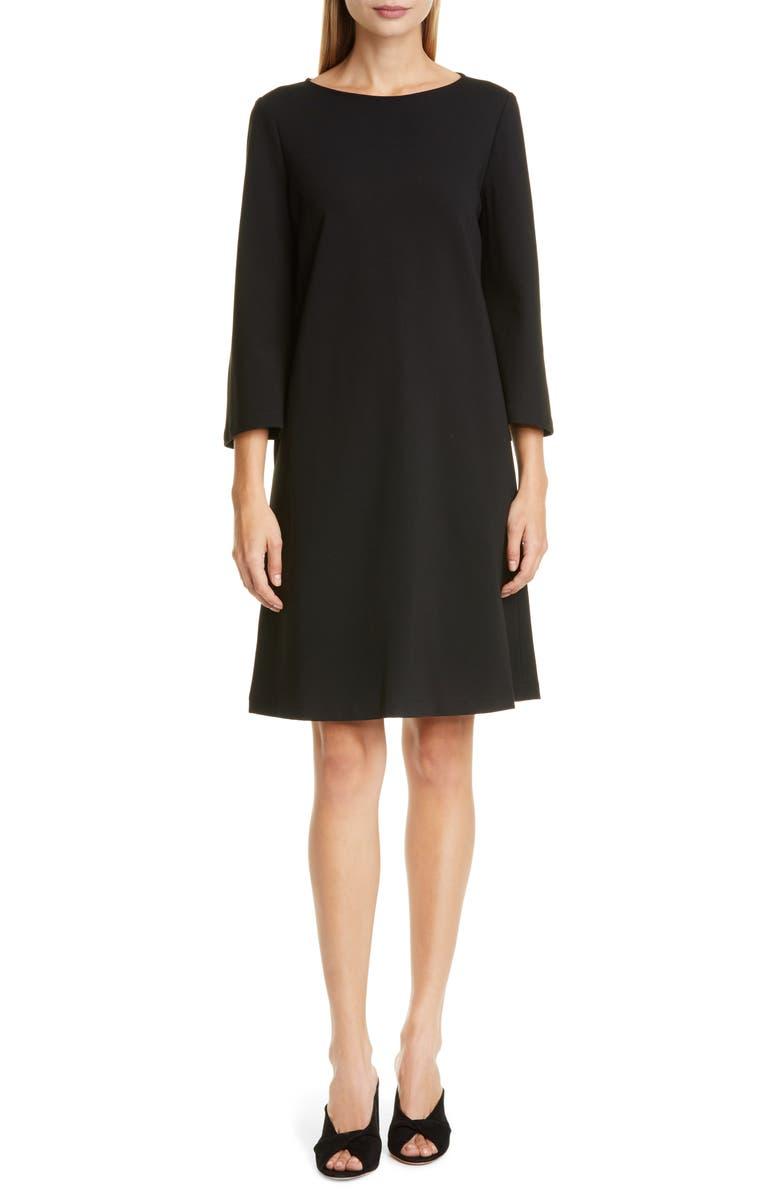 LAFAYETTE 148 NEW YORK Lotus Punto Milano Dress, Main, color, BLACK