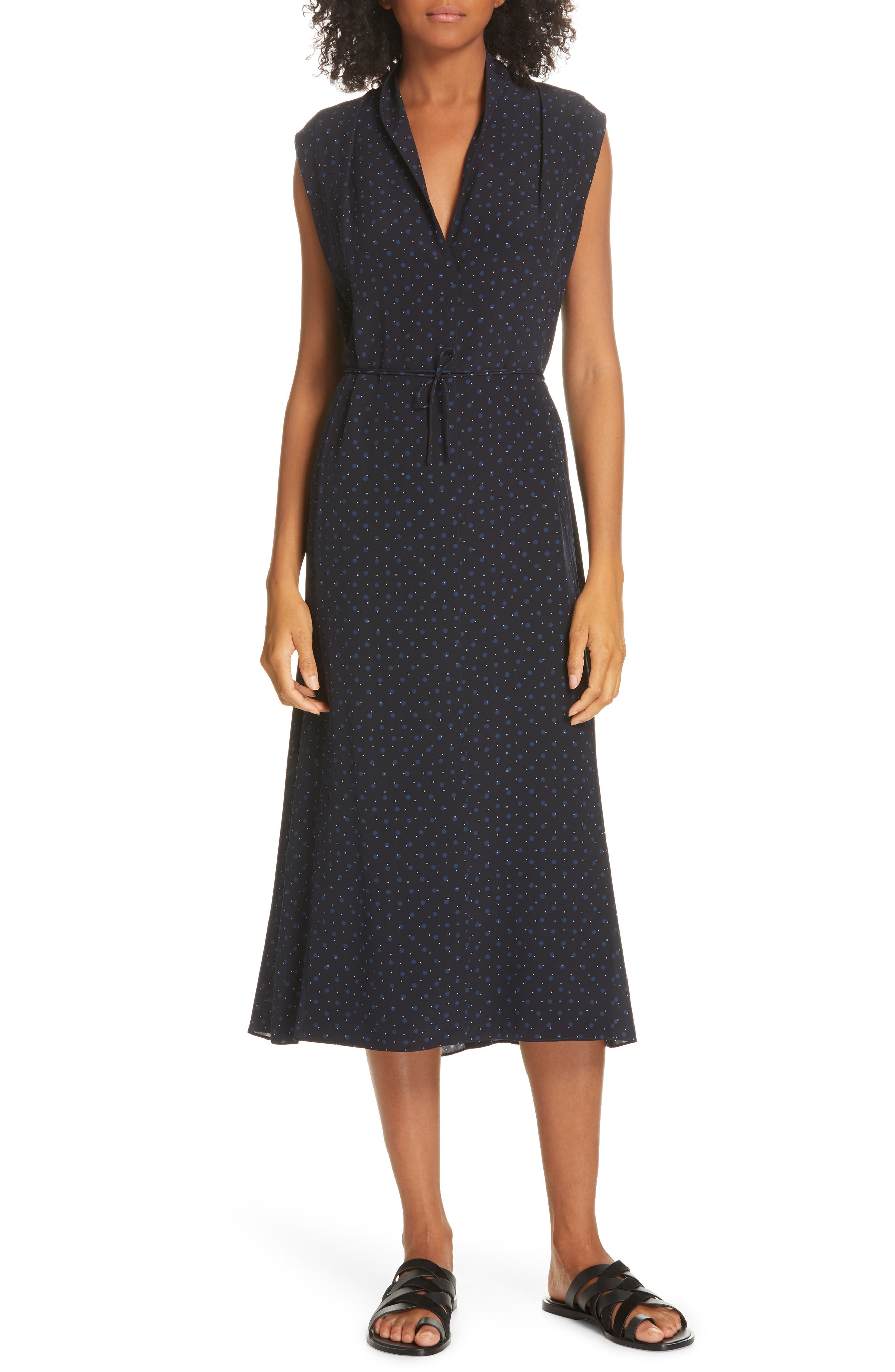 ,                             Shadow Dot Midi Silk Dress,                             Main thumbnail 1, color,                             INDIGO