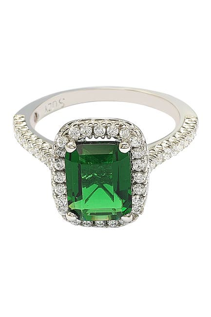 Image of Suzy Levian Sterling Silver Emerald Cut Green CZ Halo Ring