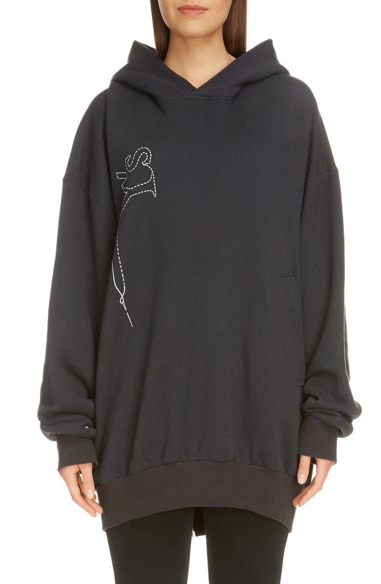 Y'S BY YOHJI YAMAMOTO Back Zip Stitch Logo Print Hoodie, Main, color, BLACK