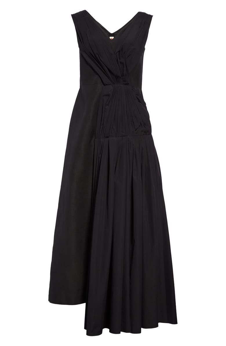 MARNI Gathered Side Cotton Poplin Midi Dress, Main, color, 001