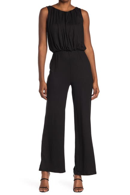 Image of Velvet Torch Pleat Neck Jumpsuit