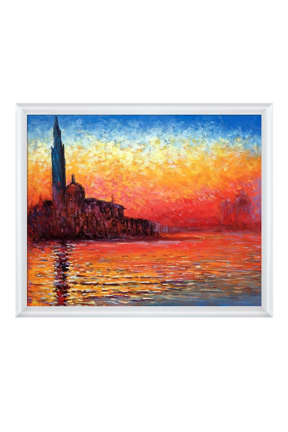 """Image of Overstock Art San Giorgio Maggiore by Twilight Framed Oil Reproduction of an Original Painting by Claude Monet - 26""""x22"""""""