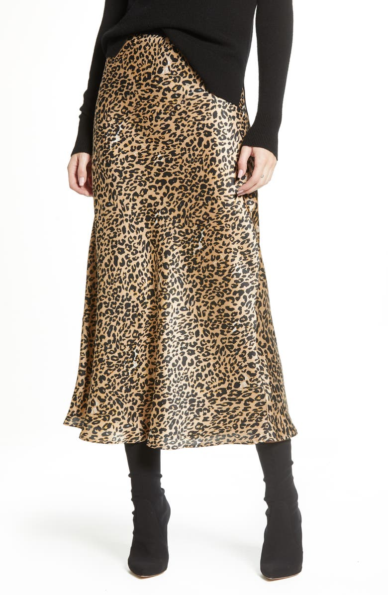 FRENCH CONNECTION Leopard Midi Slip Skirt, Main, color, 244