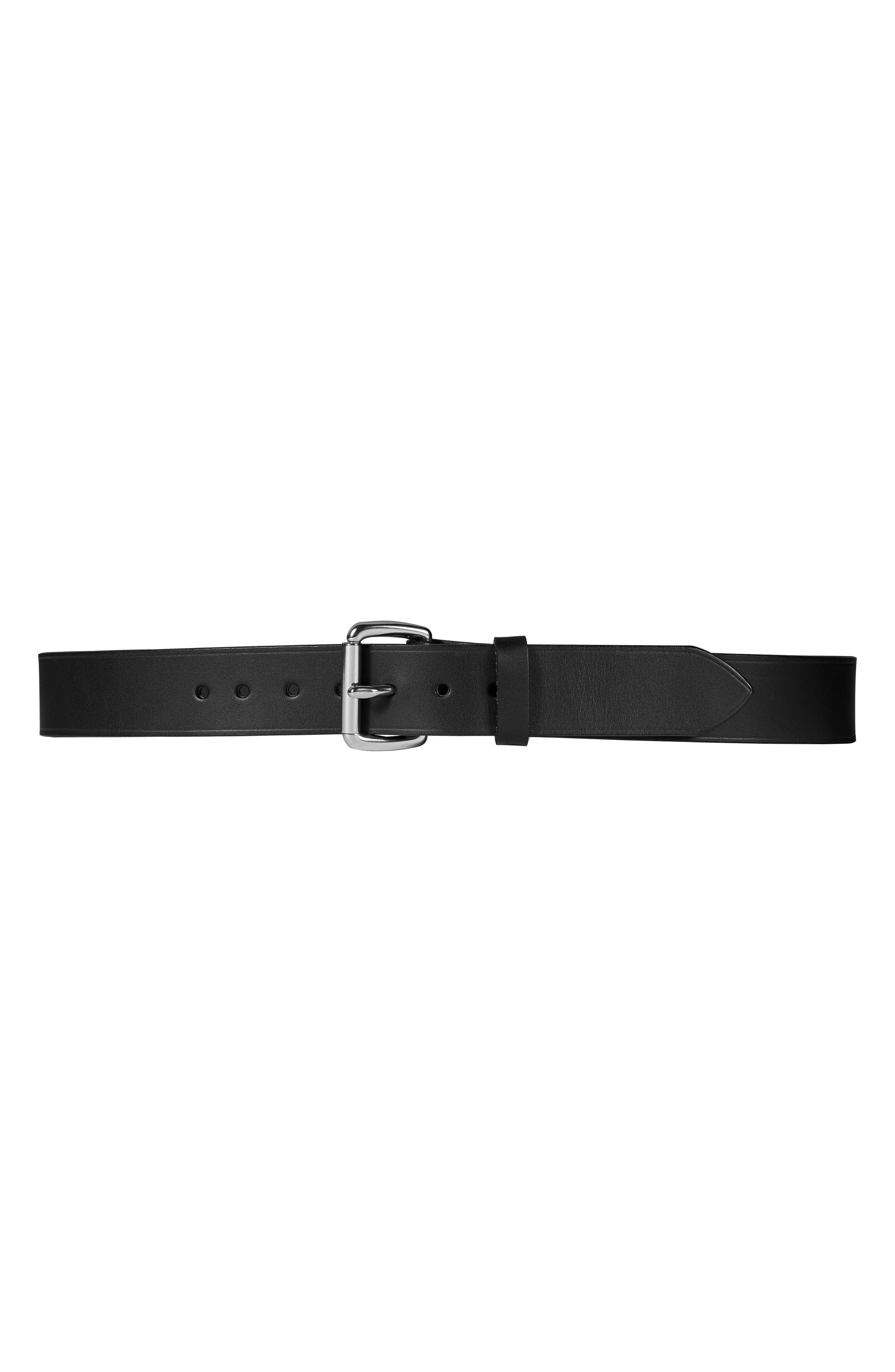 ,                             Bridle Leather Belt,                             Main thumbnail 1, color,                             BLACK/ STAINLESS