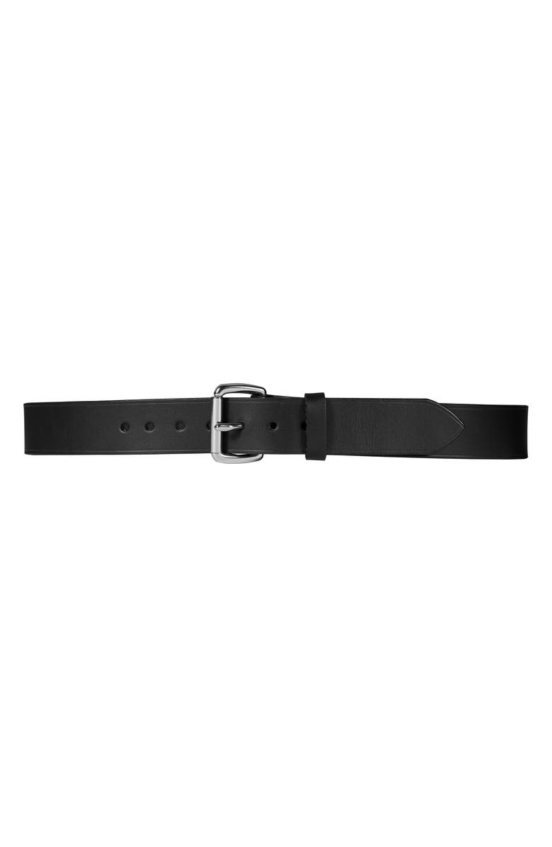 FILSON Bridle Leather Belt, Main, color, BLACK/ STAINLESS