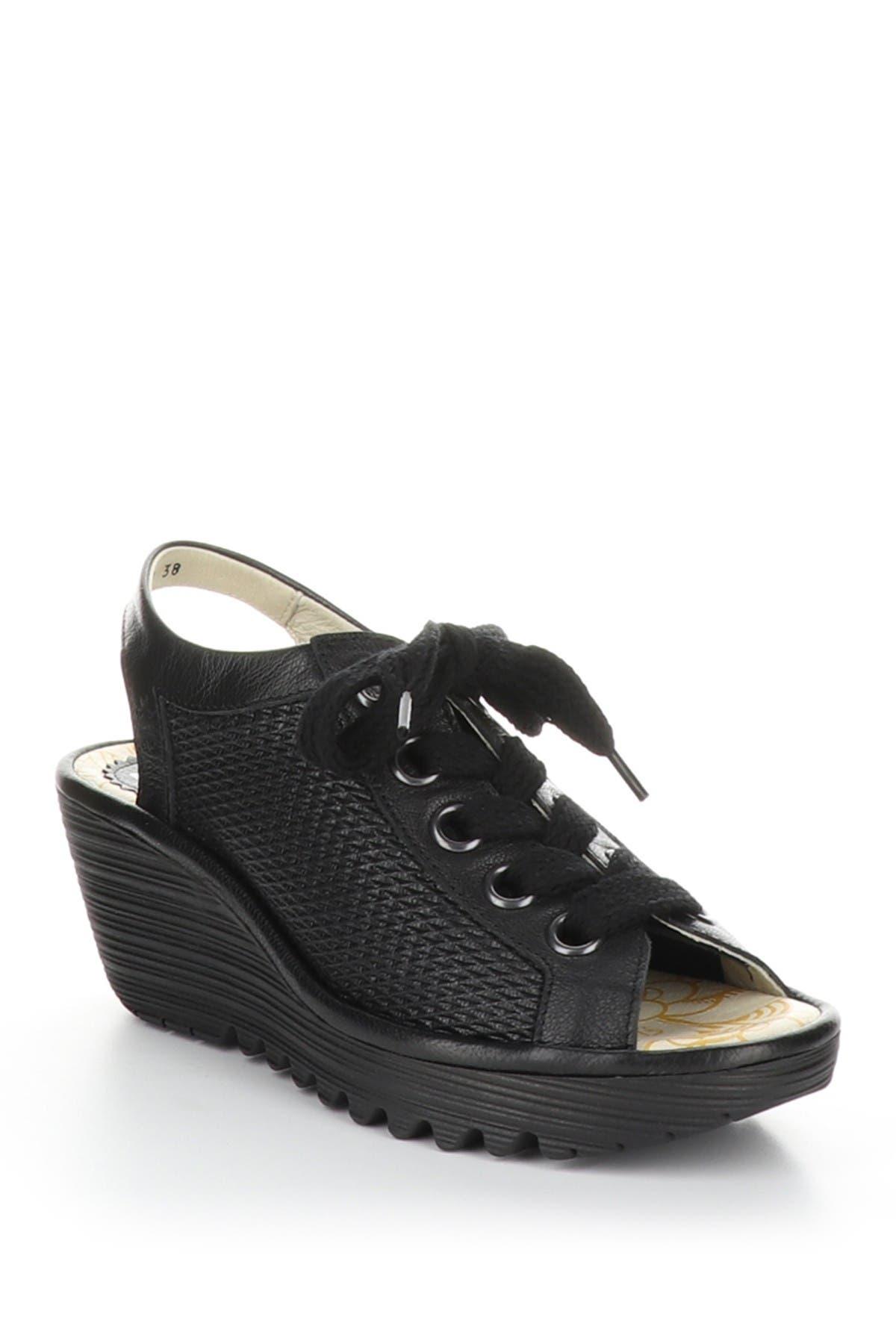 Image of FLY London Yoli Wedge Lace-Up Sandal