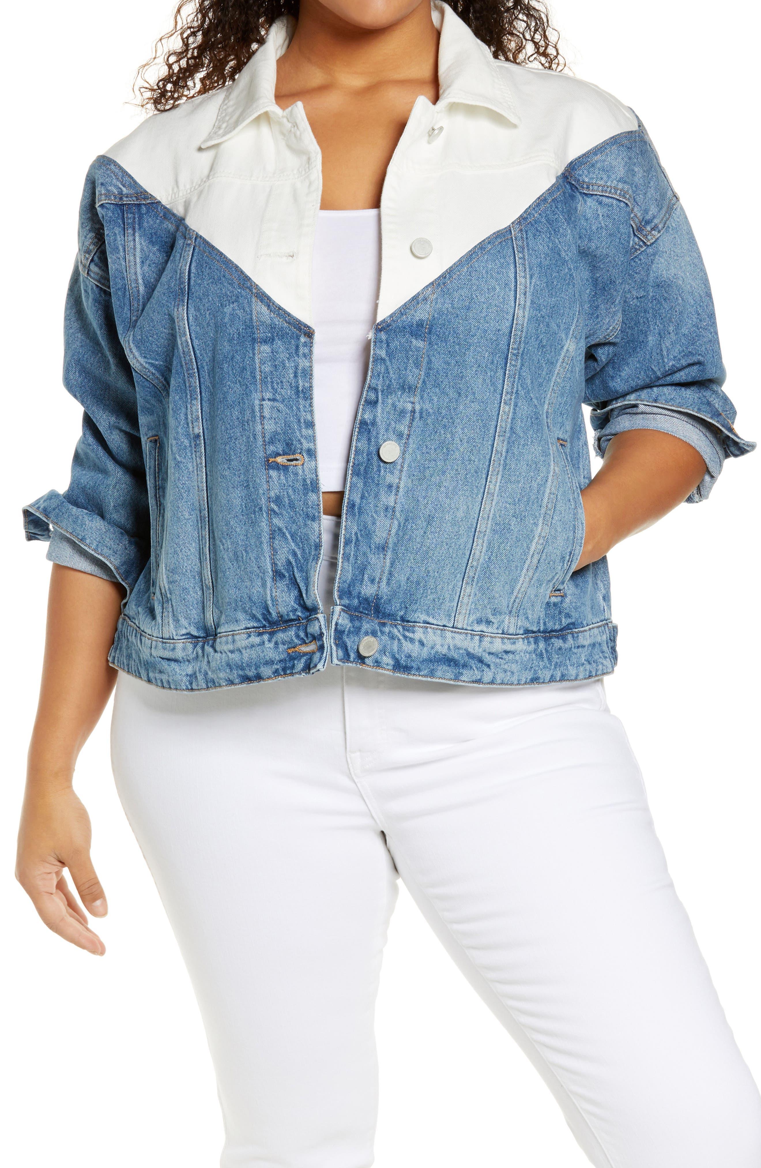 Plus Size Women's Blanknyc Patchwork Denim Trucker Jacket, Size 2X - Blue