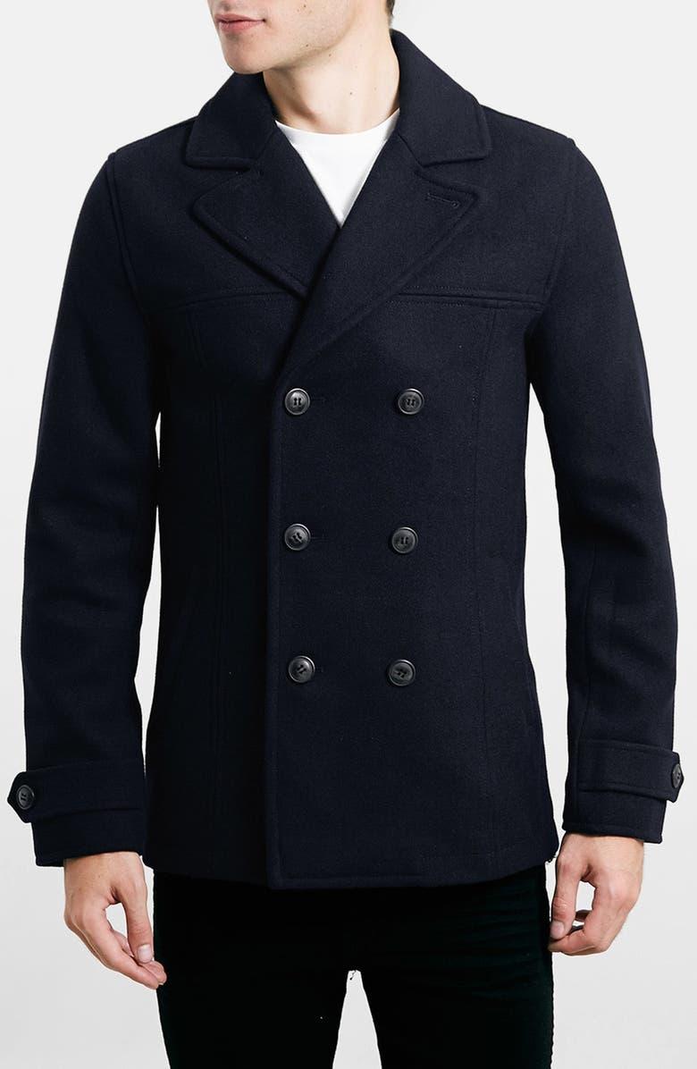 354ca9aeca6 Topman Wool Blend Double Breasted Peacoat | Nordstrom