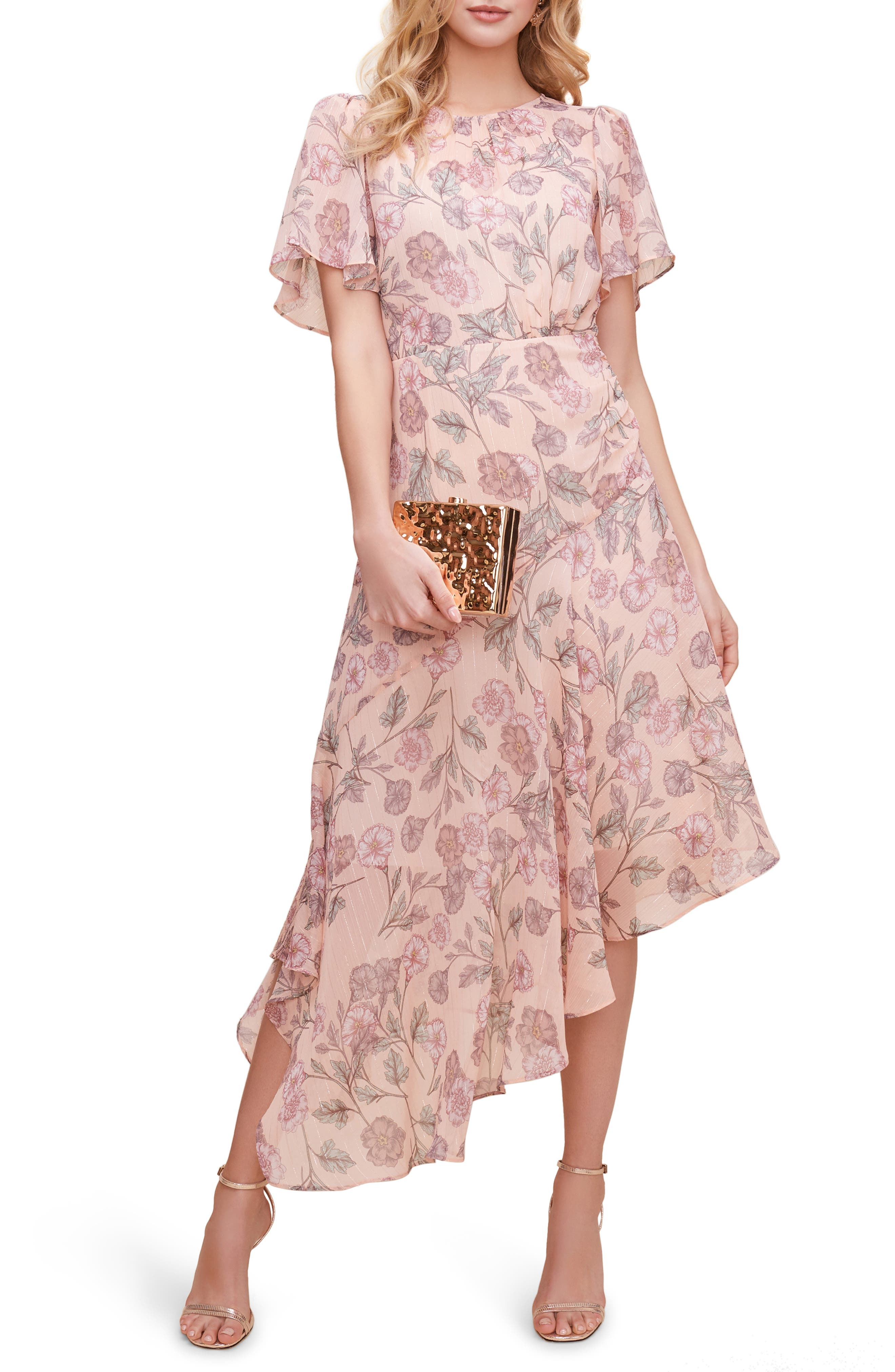 Modest, Mature, Mrs. Vintage Dresses – 20s, 30s, 40s, 50s, 60s Womens Astr The Label Floral Print Dress Size X-Large - Pink $39.90 AT vintagedancer.com