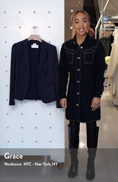 Jaxtina Stretch Wool Pinstripe Jacket, sales video thumbnail