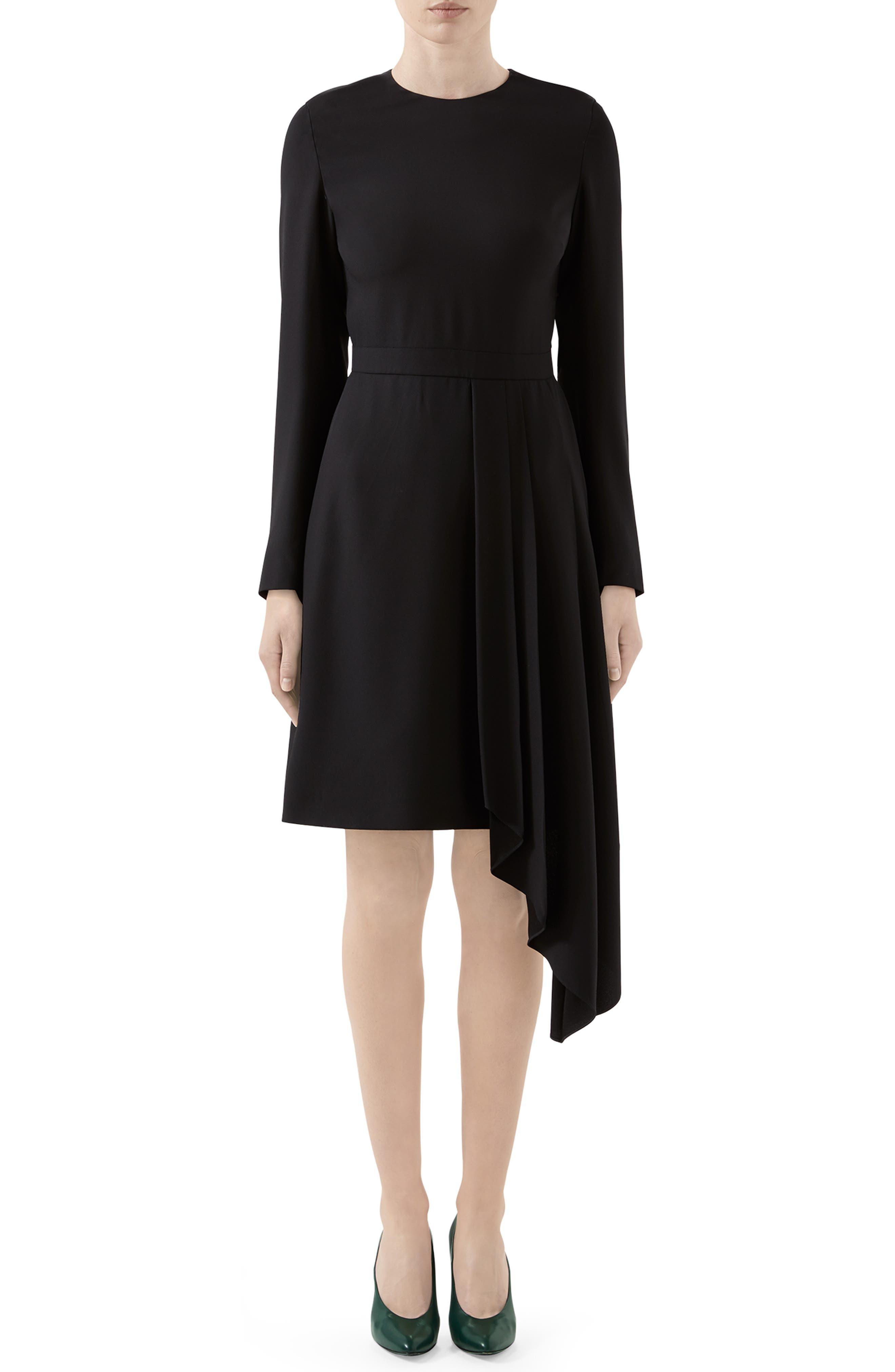 Gucci Dresses Asymmetrical Drape Satin Long Sleeve Dress