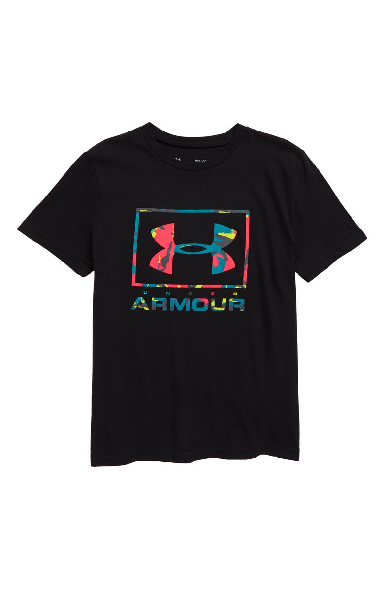 UNDER ARMOUR Paint Drip Logo Performance T-Shirt, Main, color, 001