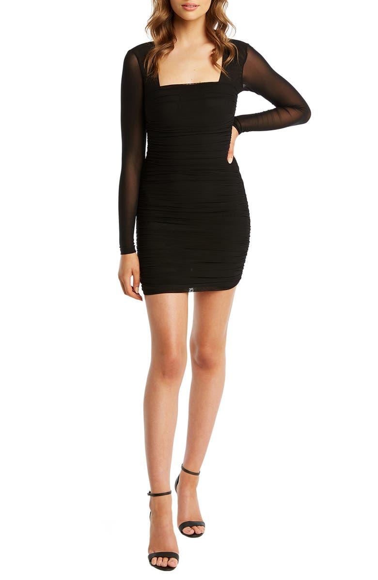 BARDOT Tasha Long Sleeve Body-Con Dress, Main, color, 001