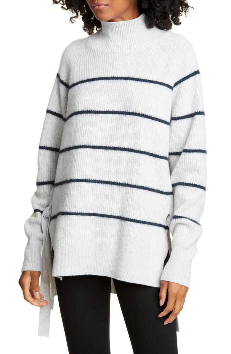 REBECCA TAYLOR Stripe Wool & Cotton Blend Turtleneck Sweater, Main, color, HEATHER GREY/ DARK TEAL