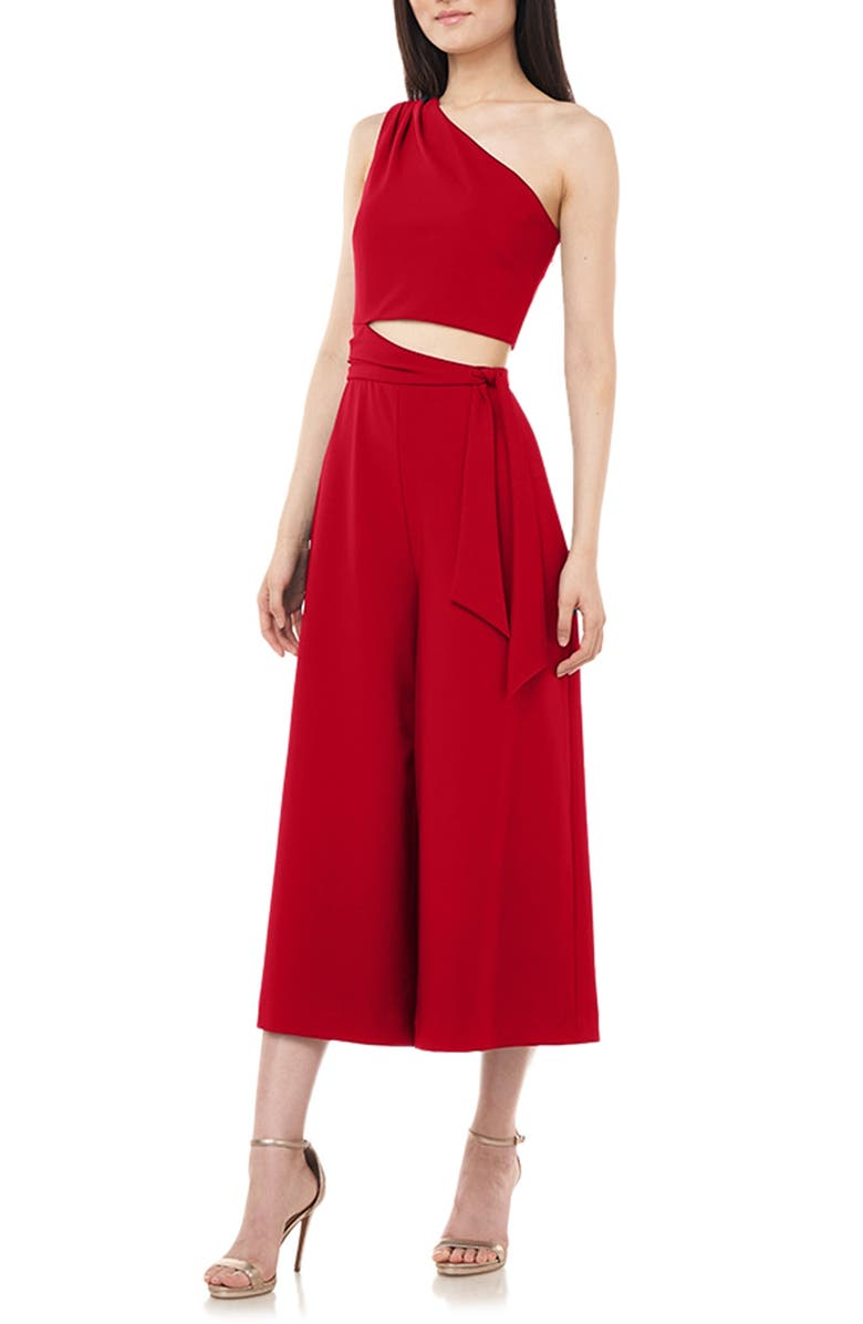 LOVE BY THEIA One-Shoulder Crop Jumpsuit, Main, color, 600