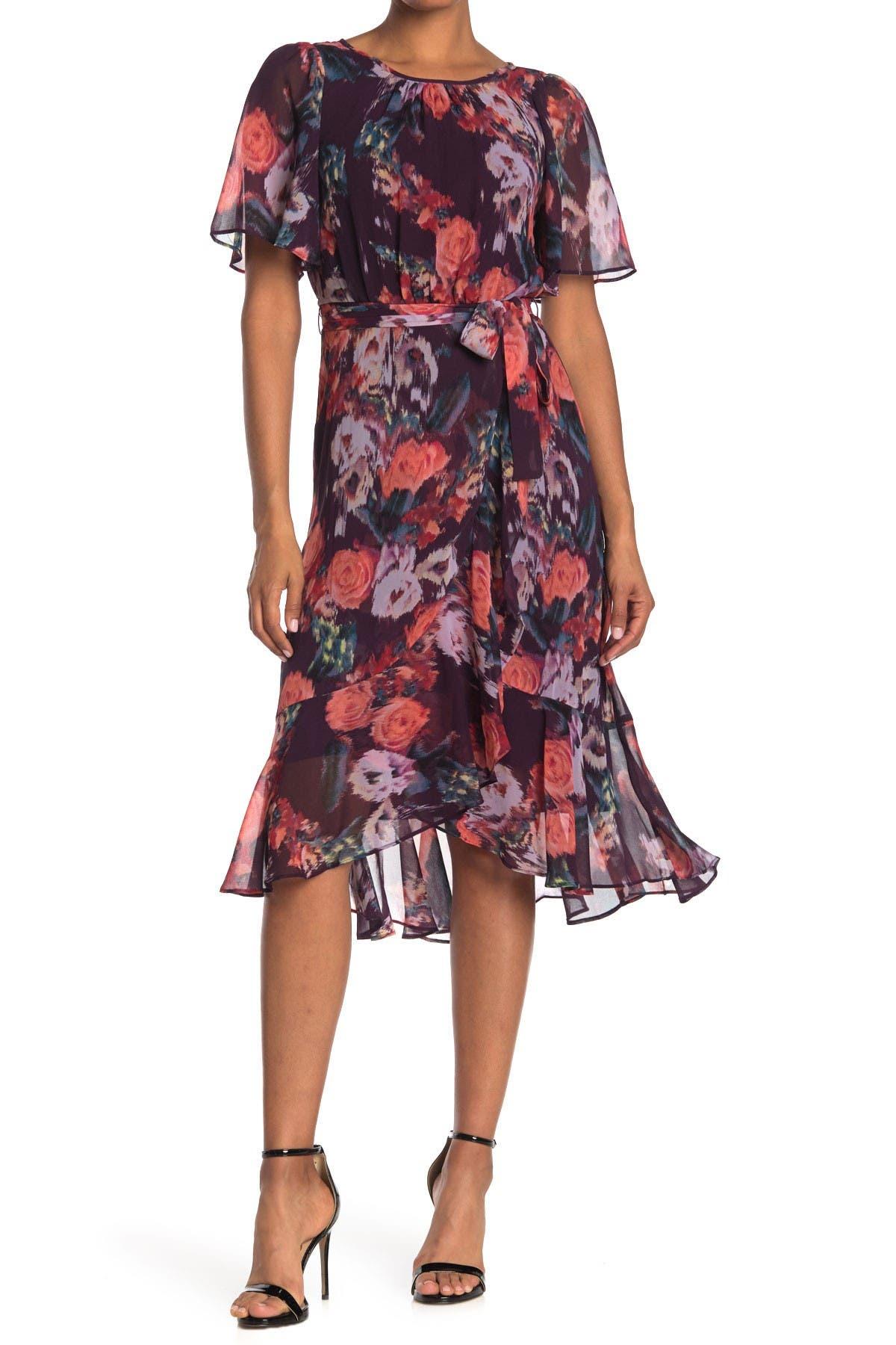 Gabby Skye Womens Plus Size Flutter Sleeve Floral Belted Dress
