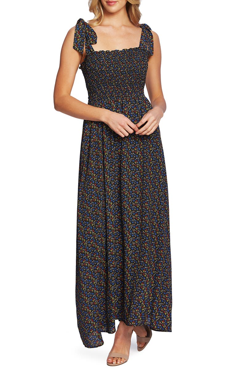CECE Ditsy Print Maxi Dress, Main, color, 006
