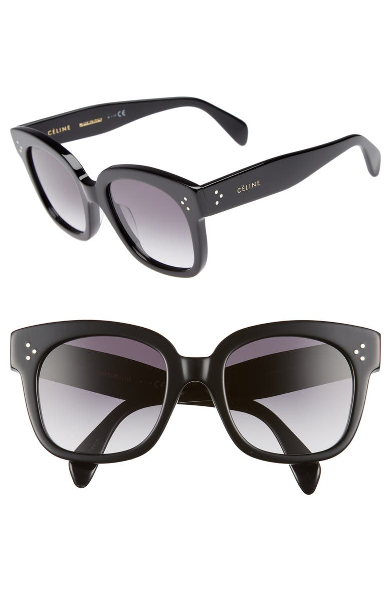 CELINE 54mm Square Sunglasses, Main, color, BLACK/ SMOKE