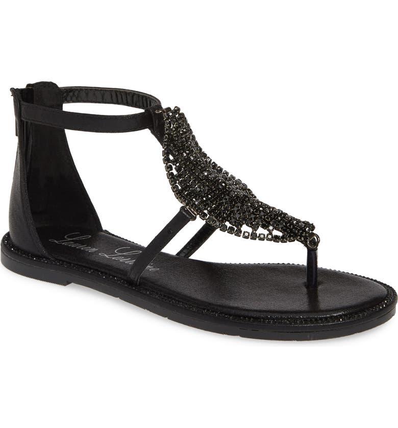 LAUREN LORRAINE Faye Crystal Embellished Sandal, Main, color, BLACK