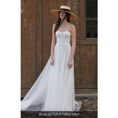 Willowby Ophelia Beaded Lace Strapless A-Line Wedding Dress