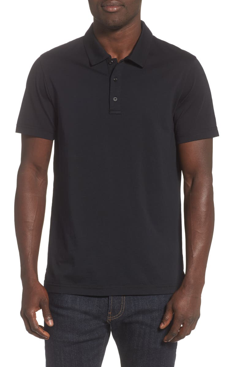 REIGNING CHAMP Solid Jersey Polo, Main, color, 001