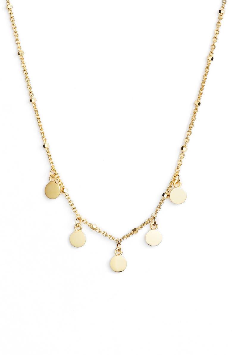 ARGENTO VIVO Mirror Charm Short Necklace, Main, color, GOLD