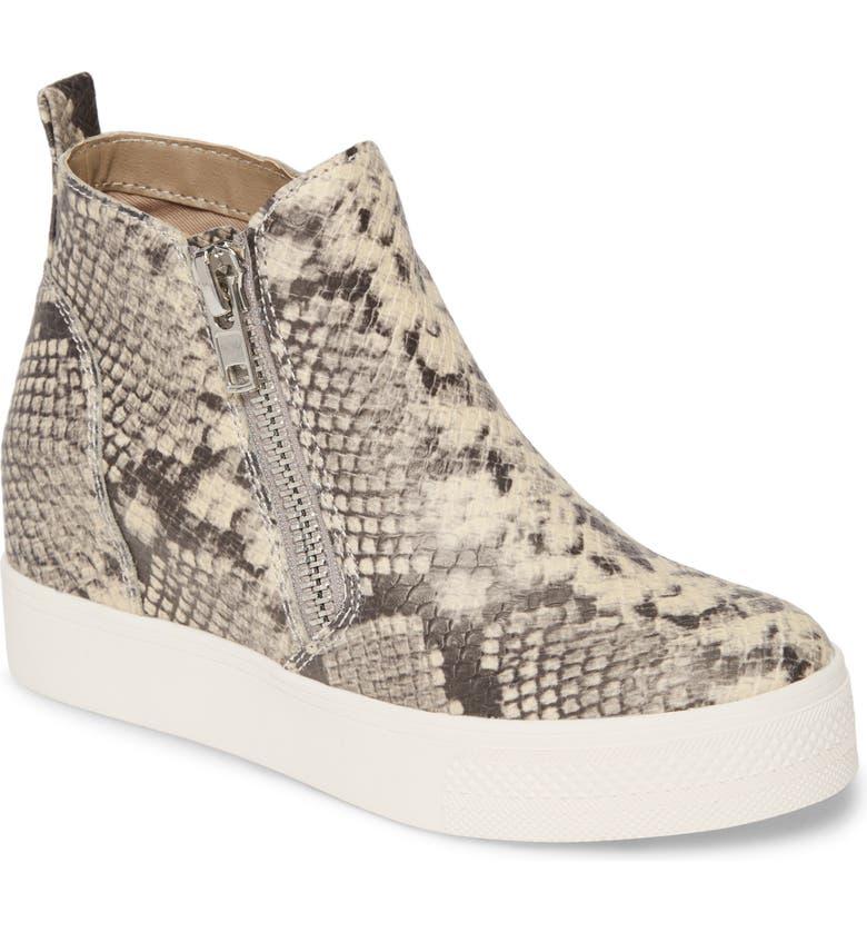 STEVE MADDEN Wedgie High Top Platform Sneaker, Main, color, NATURAL SNAKE PRINT