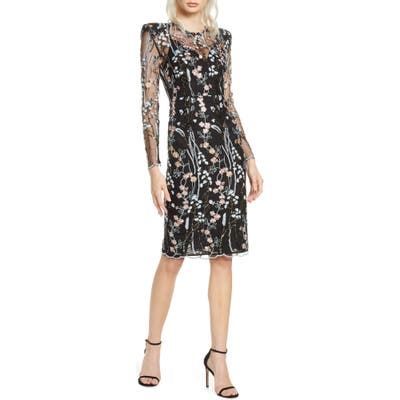 Bronx And Banco Louise Long Sleeve Floral Lace Dress, Black