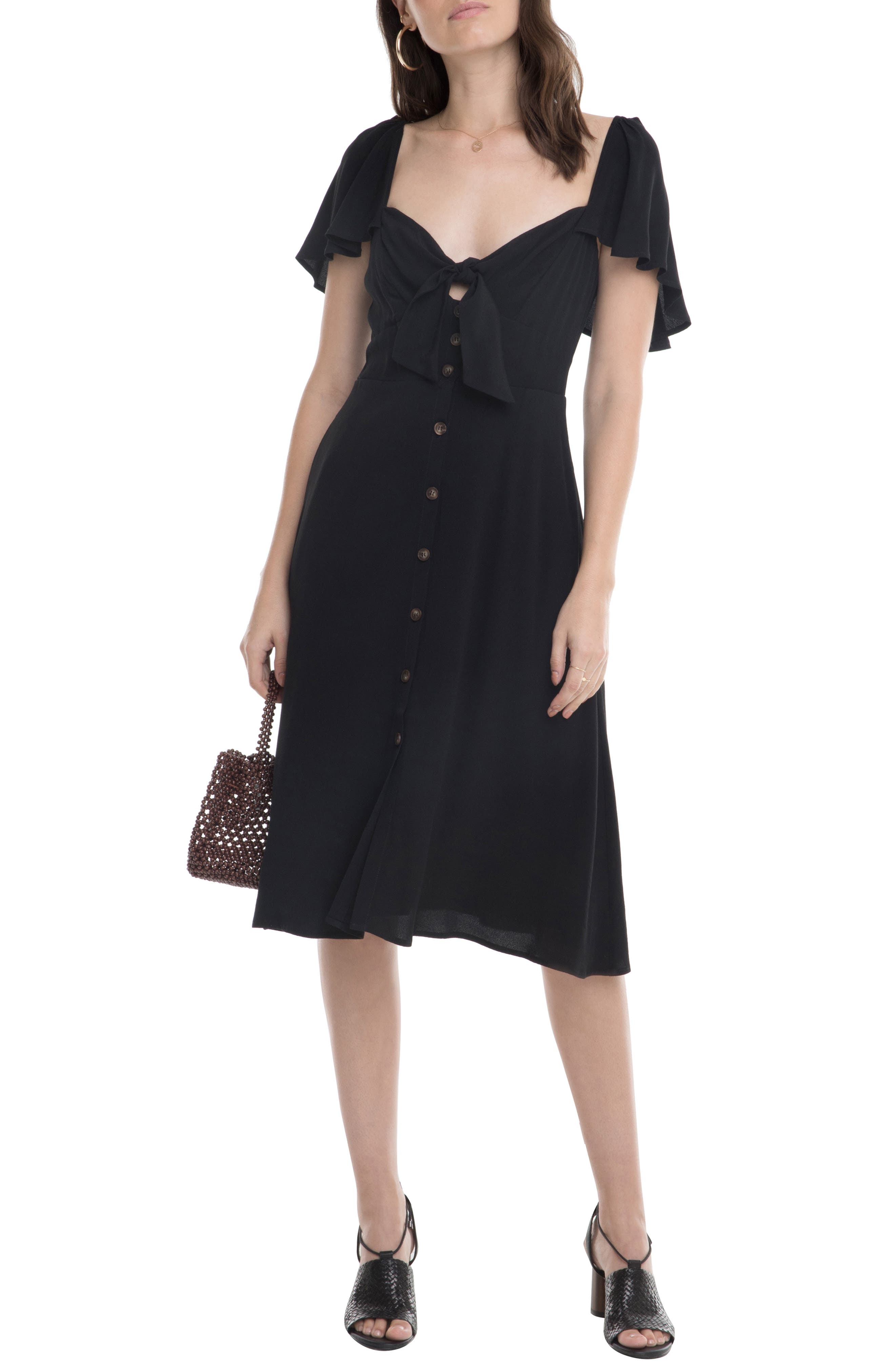 Astr The Label Rachelle Tie Front Ruffle Sleeve Dress, Black