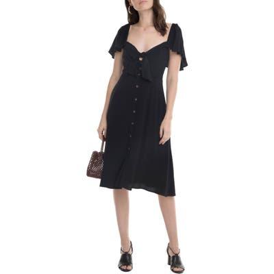 Astr The Label Rachelle Tie Front Ruffle Sleeve Dress, Black