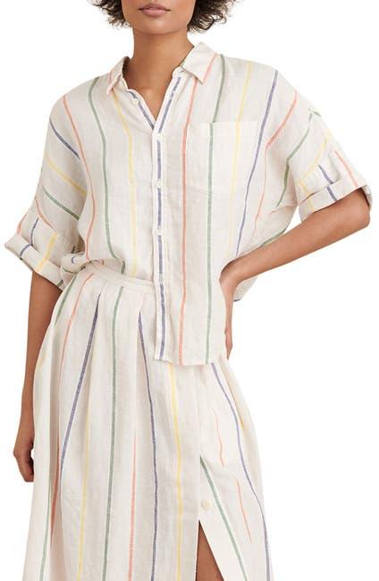 Image of ALEX MILL Charlie Stripe Short Sleeve Linen Shirt