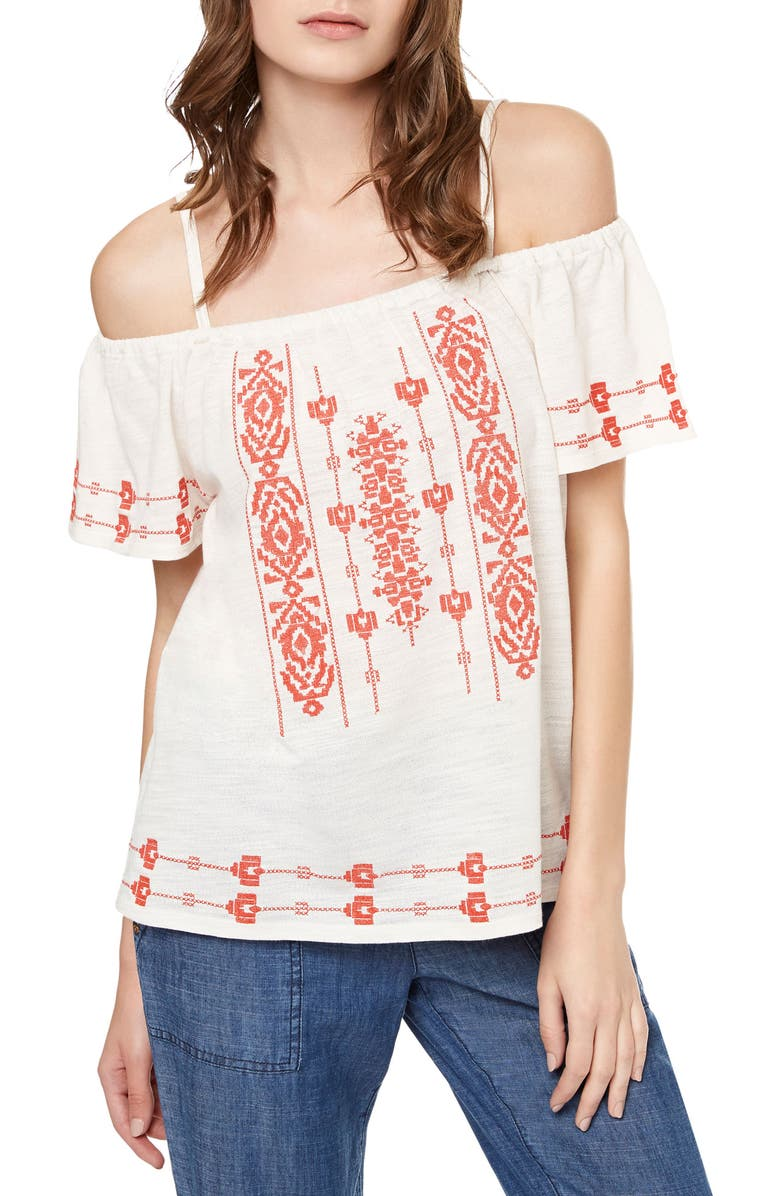 SANCTUARY Magnolia Embroidered Off the Shoulder Top, Main, color, 111