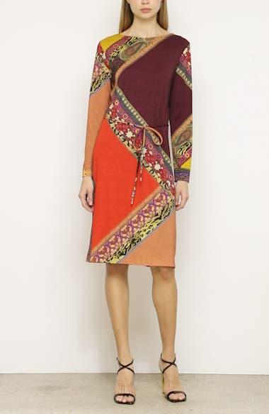 Colorblock Print Long Sleeve Wool Dress, video thumbnail