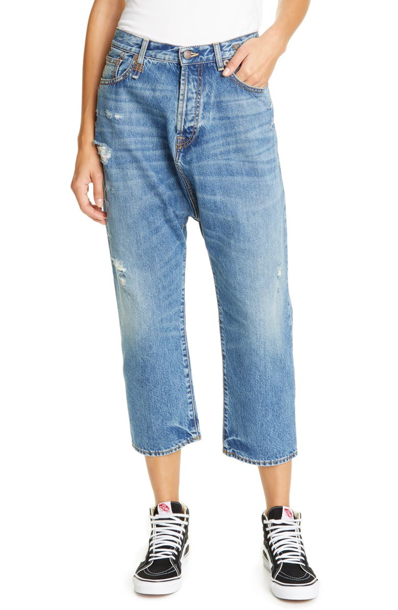 R13 Tailored Drop Straight Leg Crop Jeans, Main, color, 420