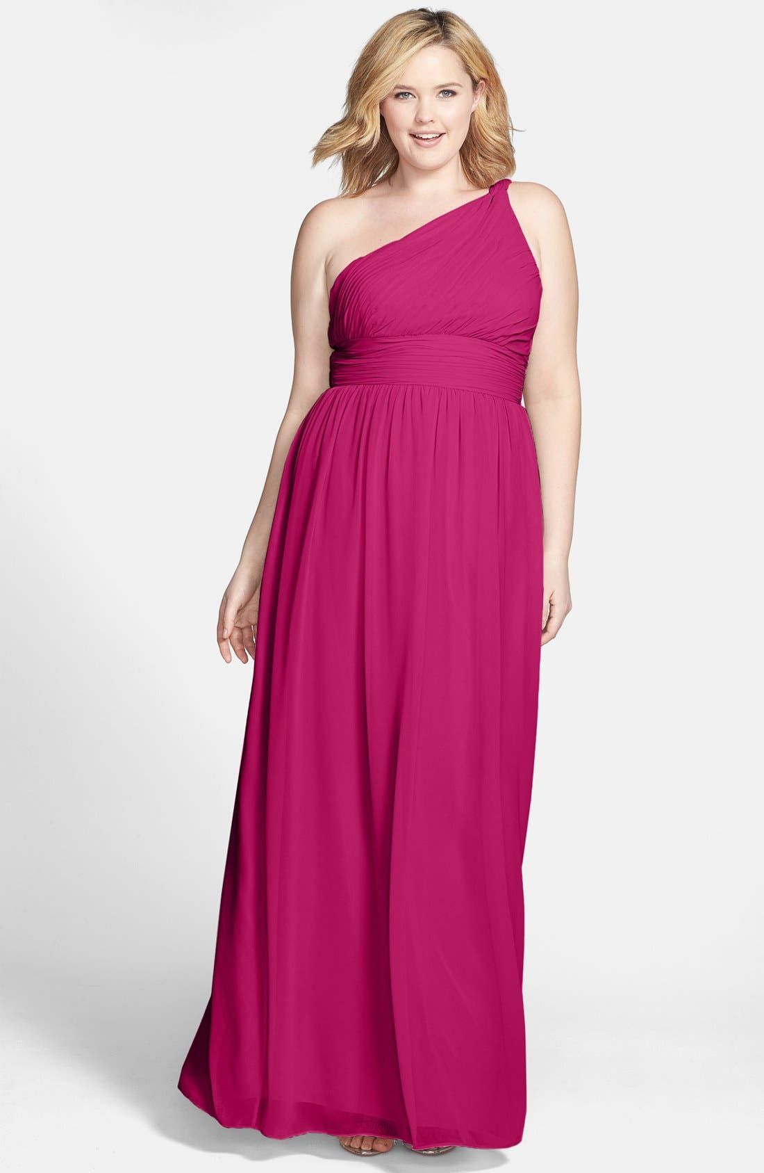 ,                             'Rachel' Ruched One-Shoulder Chiffon Gown,                             Alternate thumbnail 99, color,                             649