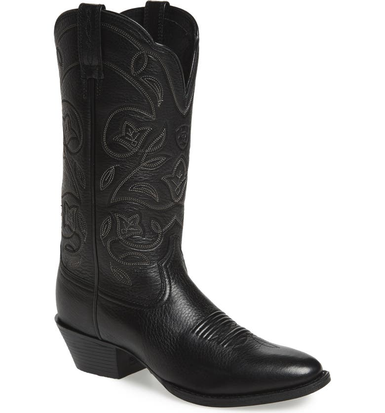 ARIAT Heritage Western R-Toe Boot, Main, color, BLACK LEATHER